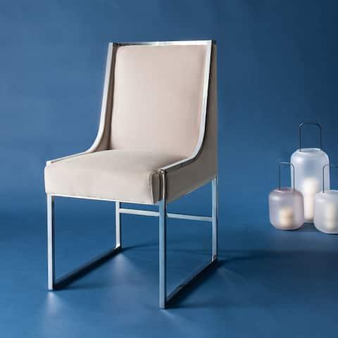 Safavieh Couture Arteaga Almond Velvet Commercial Grade Side Chair