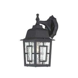 Nuvo Lighting 60/4923 Banyon Single-Light Wall Lantern with Clear Water Glass Panels - textured black