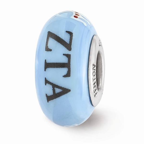 Sterling Silver Reflections Blue Hand Painted Zeta Tau Alpha Glass Bead