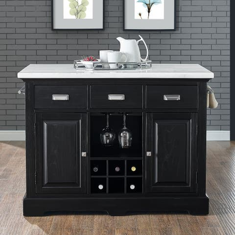 Porch & Den Ariana Marble Top Kitchen Island