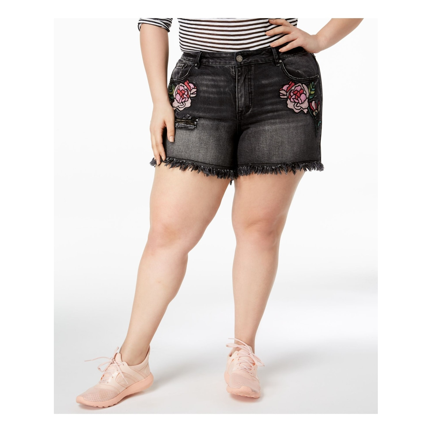 Womens Embroidered Denim Shorts