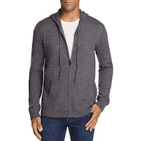 Bloomingdales Mens 2-Ply Cashmere Full Zip Hooded Sweater Large L Ash