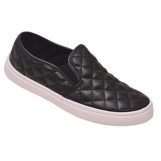 Weeboo Adult Black Quilted Stitch Pattern Laceless Sneakers