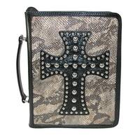 3 D Belt Company Metallic Snake Print Bible Cover with Leather Cross - One size