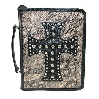 3 D Belt Company Metallic Snake Print Bible Cover with Leather Cross