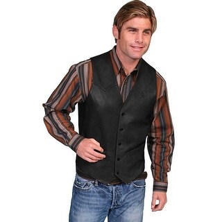 Scully Western Vest Mens Lambskin Leather Button Black 503-198