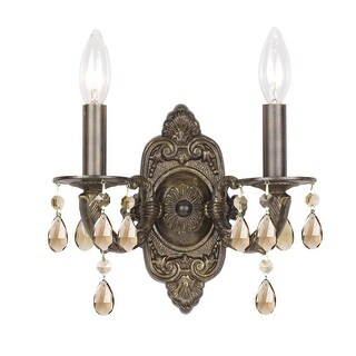 """Crystorama Lighting Group 5022-CL Paris Market 2 Light 12"""" Wide Wall Sconce with (3 options available)"""