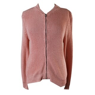 Ny Collection Pink Metallic Sweater Jacket M
