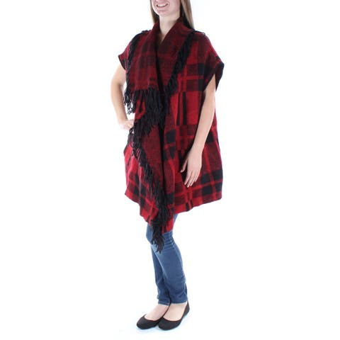KIIND OF Womens Red Fringed Plaid Dolman Sleeve Open Trapeze Top Size: M