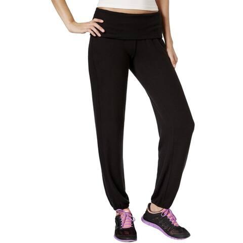 Ideology Women's Relax Foldover Waist Athletic Soft Sweatpants Pants, Black, XS