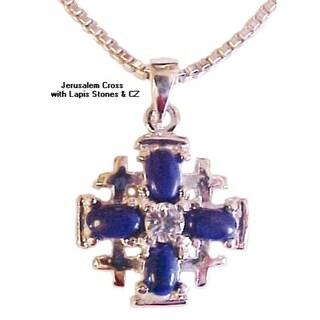 Jerusalem Cross With Lapis And CZ Necklace