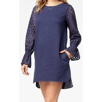 Kensie Blue Womens Size Medium M Lace-Contrast Sleeve Sheath Dress