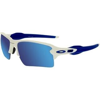 Oakley Men's Mirrored Flak OO9188-20 Blue Semi-Rimless Sunglasses