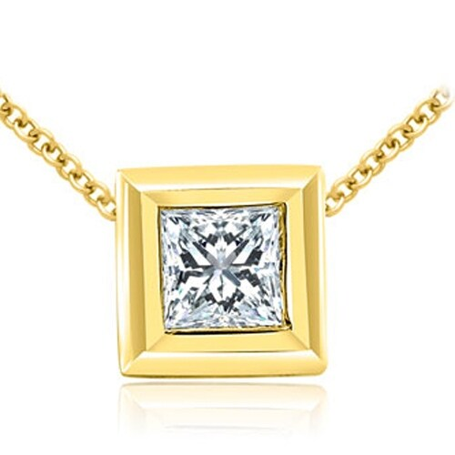 0.50 cttw. 14K Yellow Gold Princess Cut Diamond Bezel Solitaire Pendant