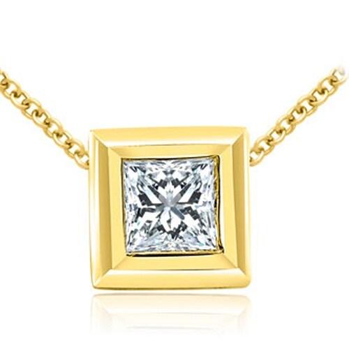 0.75 cttw. 14K Yellow Gold Princess Cut Diamond Bezel Solitaire Pendant