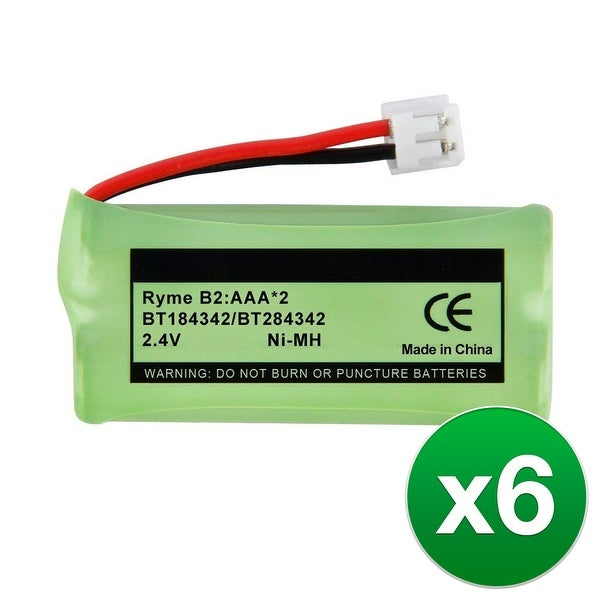Replacement For VTech BT284342 Cordless Phone Battery (750mAh, 2.4V, NiMH) - 6 Pack