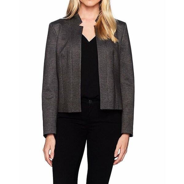 Nine West Brown Womens Size 4 Mini Houndstooth Flyaway Jacket