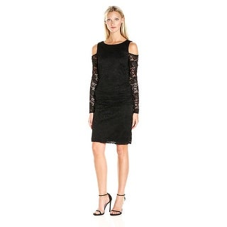 Laundry by Shelli Segal Cold Shoulder Stretch Lace Sheath Cocktail Dress - 2