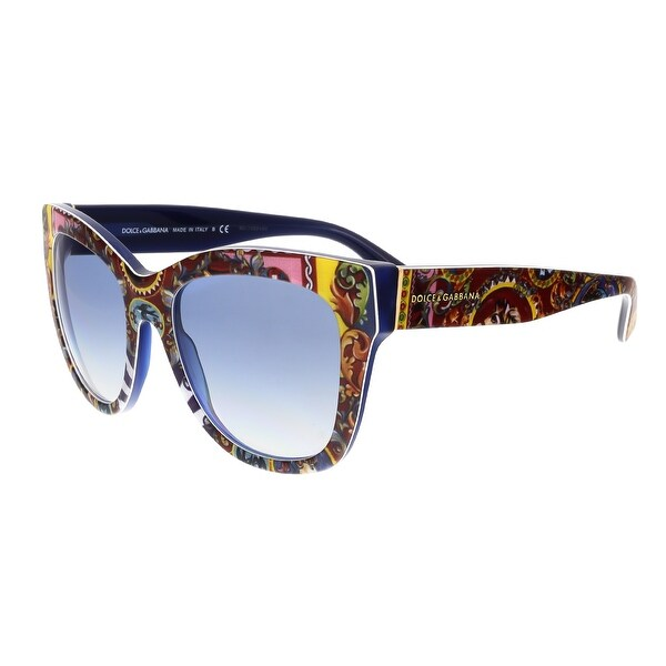 Dolce&Gabbana DG4270 303619 Caretto Print Cateye Sunglasses - Blue