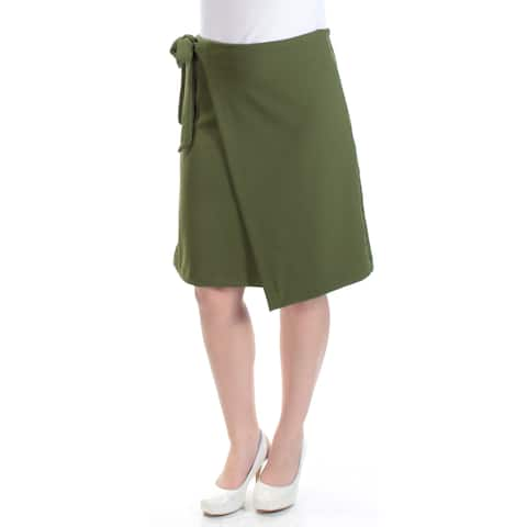 ECI Womens Green Faux Wrap Knee Length Skirt Size: S