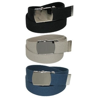 CTM® Big & Tall Cotton Belt with Nickel Buckle (Pack of 3 Colors) - One Size