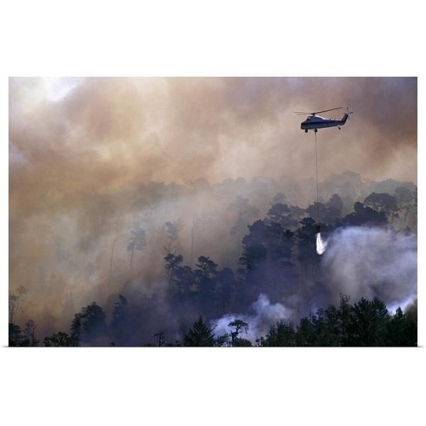 """""""Helicopter fighting firestorm"""" Poster Print"""