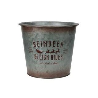 "7.5"" Reindeer Sleigh Rides Christmas Planter Pot Cover"