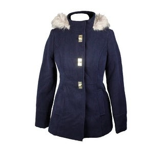 Maralyn & Me Juniors Navy Hooded Faux Fur-Trim Coat L