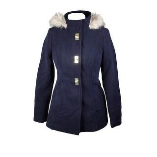 Maralyn & Me Juniors Navy Hooded Faux Fur-Trim Coat M