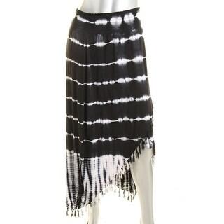Design History Womens Fringe Tie-Dye Maxi Skirt