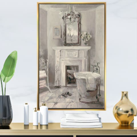 Designart 'French Bathroom Vintage I' Traditional Bathroom Framed Canvas - Grey
