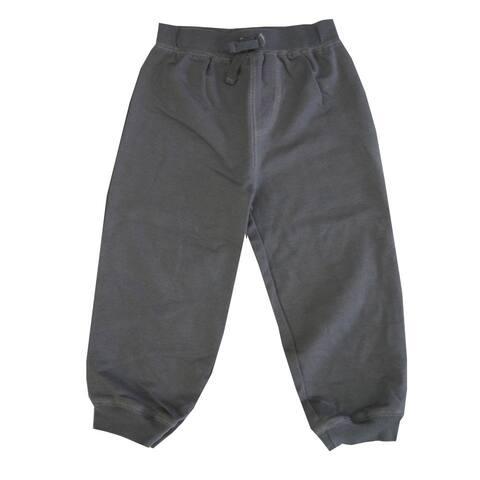 Little Me Little Boys Dark Grey Solid Color Adjustable Waist Sweat Pants 2-4T
