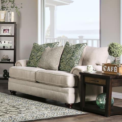 Furniture of America Guyton Transitional Cream Chenille Loveseat