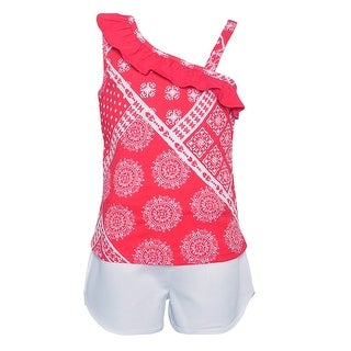 Girls Red White Art Deco Print Asymmetric Top 2 Pc Shorts Outfit