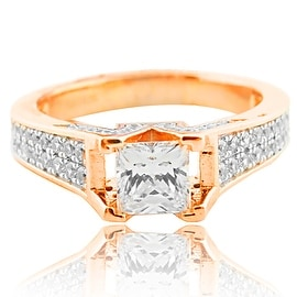 Princess Cut Engagement Ring Rose Gold-Tone Silver and CZ Vintage Inspired