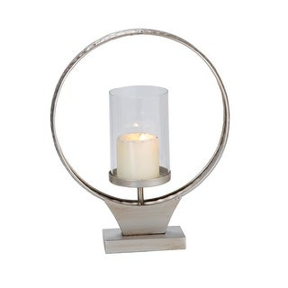 Link to Foreside Home & Garden Small Hammered Metal Round Ring Pillar Candle Holder - 4.25x12.25x14.5 Similar Items in Living Room Furniture