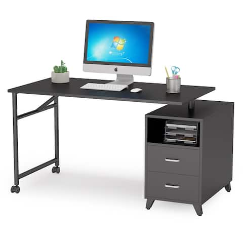 Reversible Computer Desk Rotating Office Desk with Drawers and Cabinet