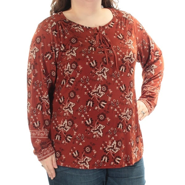 STYLE & COMPANY $44 Womens New 1200 Brown Black Floral Lace-up Top 3X Plus B+B