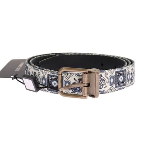 Dolce & Gabbana White Blue Denim Majolica Leather Belt