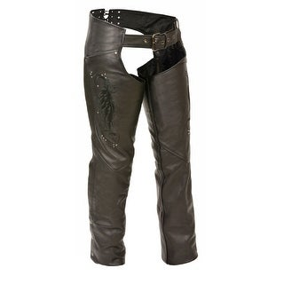 Womens Leather Chaps Wing Embroidery / Rivet Details (Option: Pink)