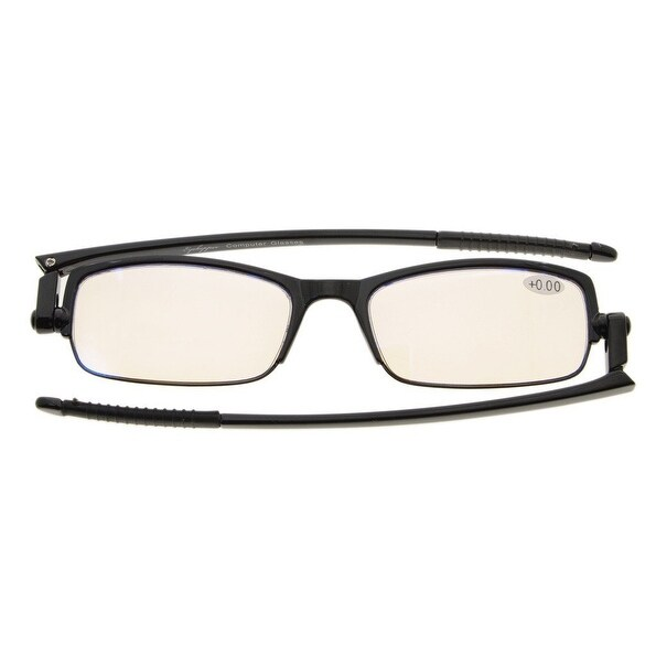 Eyekepper 360 Foldable Temples Unsix Reading Glasses for Reducing Harmful Blue Light With Case(Amber Lens, +2.0)