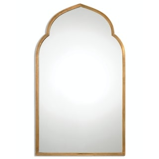 """40"""" Moroccan Ines Hand Forged Arch Wall Mirror with Plated Antiqued Gold Frame - N/A"""