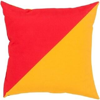 "18"" Bright Orange and Red Diagonal Design Indoor/Outdoor Decorative Throw Pillow"