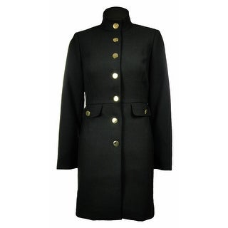 Sutton Studio Womens Military Style Crepe Long Jacket Coat