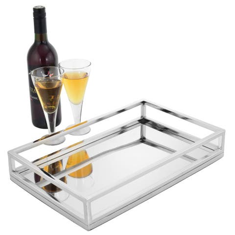 "Sol Living Stainless Steel Rectangular Tubular Serving Tray - Tubular, 15"" x 2.7"" x 8"""