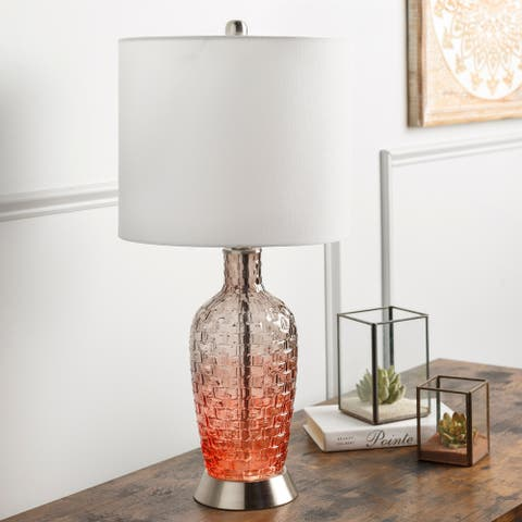 """Aritra 25"""" Modern Red Glass Table Lamp - 25""""H x 12""""W x 12""""D"""