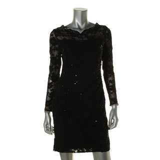 Lauren Ralph Lauren Womens Petites Lace Sequined Cocktail Dress