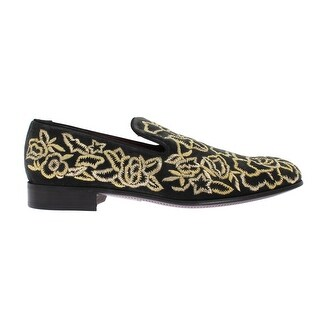 Dolce & Gabbana Gray Velvet Gold Embroidery Loafers