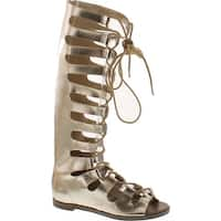 Breckelles Rita-71 Women Metallic Gilly Tie Peep Toe Knee High Gladiator Sandal - Gold
