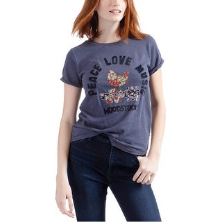 Link to Lucky Brand Womens Embroidered Woodstock Graphic T-Shirt, Blue, X-Small Similar Items in Intimates